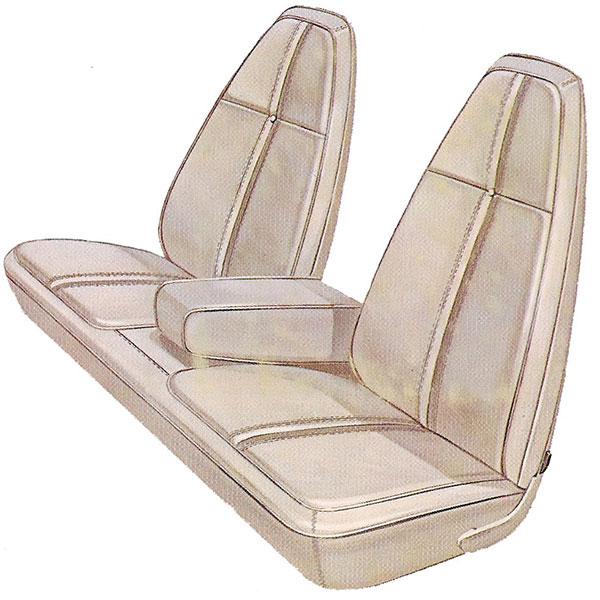 1971 Plymouth Barracuda Front Split Bench Seat Cover With