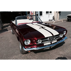 Red and White Mustang Convertible